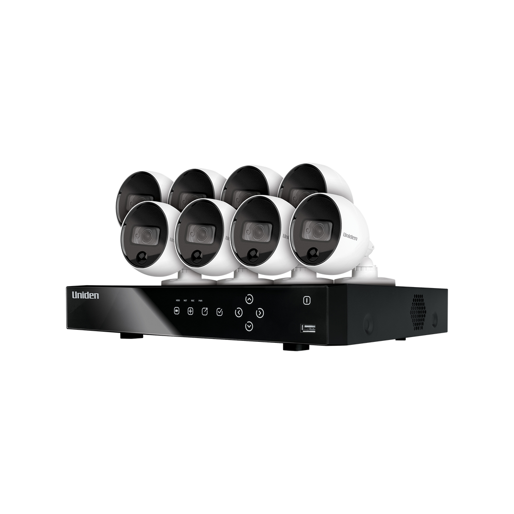 Uniden Guardian 4MP 2K Thermal-Sensing Ai XVR Security System Including 8 Wired Bullet Weatherproof Cameras