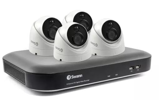 Swann 8 Channel 4K Ultra HD 2TB DVR with 4 x PRO-4KMSD True Detect Thermal Sensing Dome Cameras