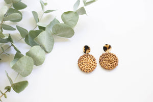 Rattan Round Earrings