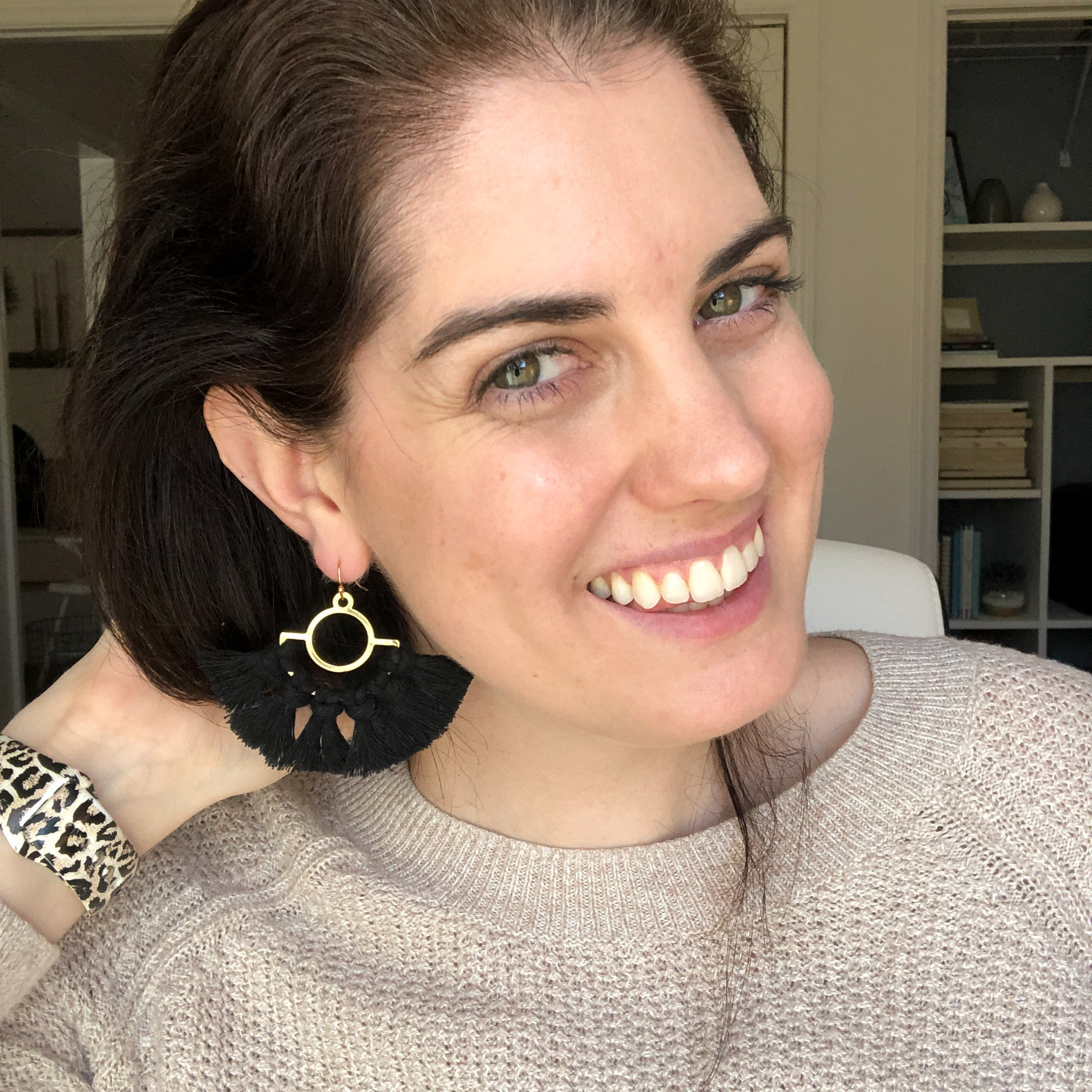 Gold Earrings with Black Macrame Tassels