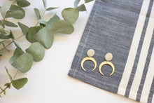 Load image into Gallery viewer, Brass Moon Earrings