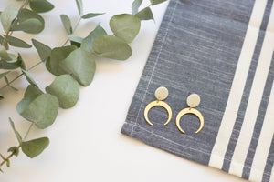 Brass Moon Earrings