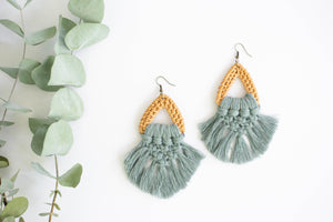 Triangle Rattan with Macrame Earrings