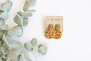 Circle Rattan Earrings with Army Green Studs