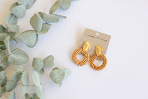 Round Rattan Earrings With Gold Studs