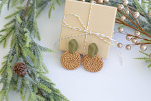 Load image into Gallery viewer, Circle Rattan Earrings with Army Green Studs