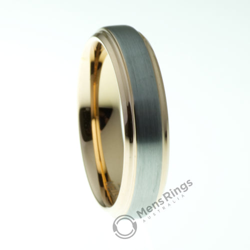 Brushed Tungsten Ring with Rose Gold Plated Sides and Inner - Mens Rings Australia