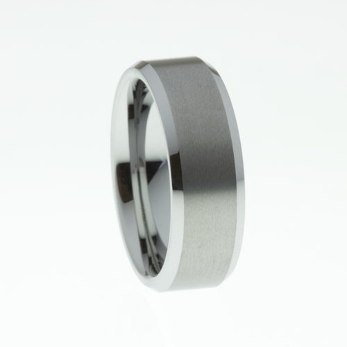 Tungsten Carbide Ring with Brushed outer and Bevelled Edges - Mens Rings Australia