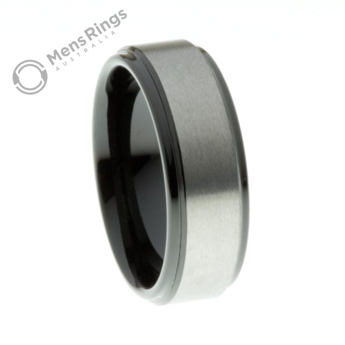 Brushed Tungsten Ring with Black Plated Sides and Centre - Mens Rings Australia