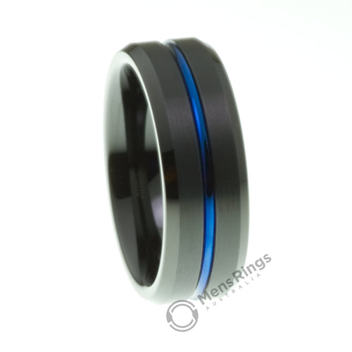 Black Tungsten Ring with Blue Channel - Mens Rings Australia