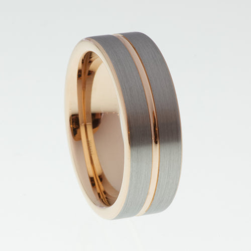 Brushed Tungsten Ring with Rose Gold Accent - Mens Rings Australia