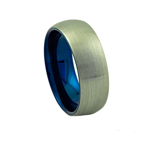 Brushed Tungsten Dome Ring with Blue Inner - Mens Rings Australia