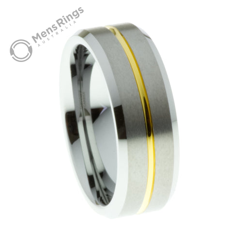 Brushed Tungsten Ring with Gold Plated Channel and Bevelled Edges - Mens Rings Australia