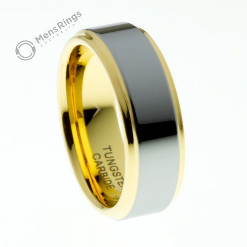 Polished Tungsten Ring with Gold Plated Sides and Centre - Mens Rings Australia