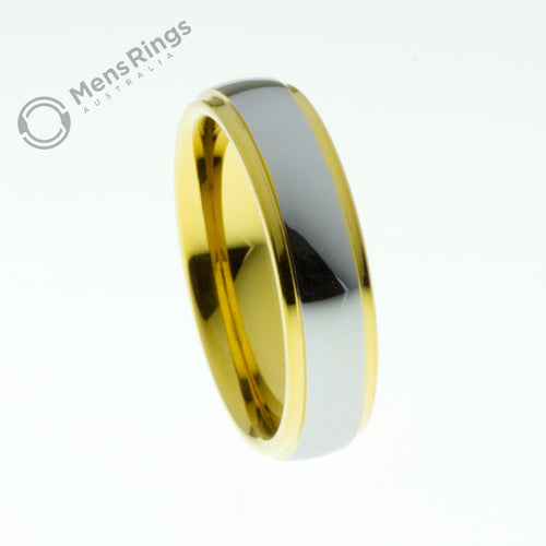 Polished Tungsten Ring with Gold Plated Sides and Centre 6mm - Mens Rings Australia