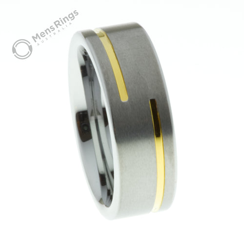 Half Circle Gold Channel Brushed Tungsten Ring - Mens Rings Australia
