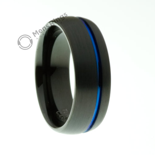 Black Tungsten Ring with Offset Blue Channel - Mens Rings Australia
