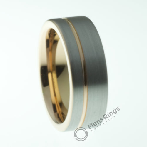 Brushed Tungsten Ring with Offset Rose Gold Accent - Mens Rings Australia