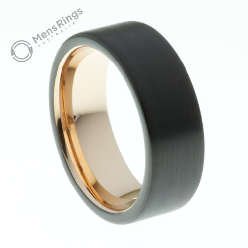 Black Pipe Cut Brushed Tungsten Ring with Rose Gold Inner - Mens Rings Australia
