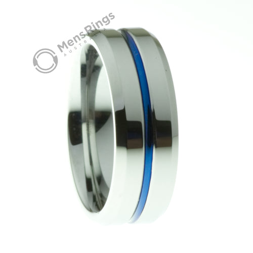 Polished Tungsten Ring with a Blue Channel - Mens Rings Australia