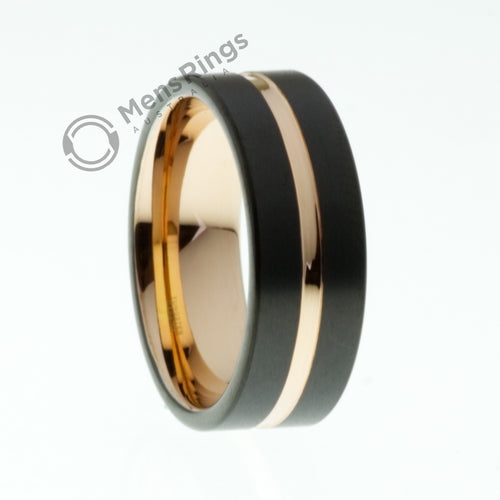 Black Tungsten Ring with Rose Gold Accent - Mens Rings Australia