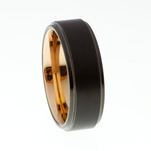 Black Brushed Tungsten Ring with Rose Gold Inner - Mens Rings Australia