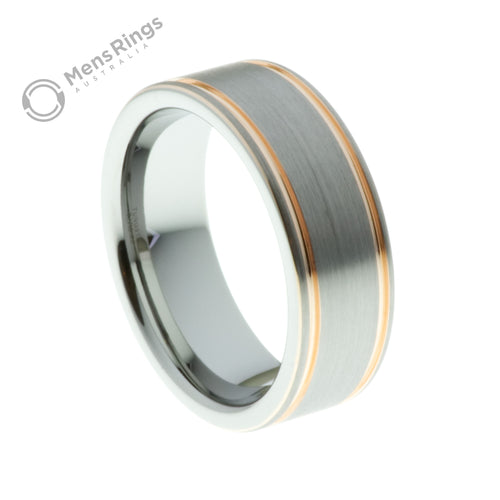 Brushed Tungsten Ring with Double Rose Gold Accent - Mens Rings Australia