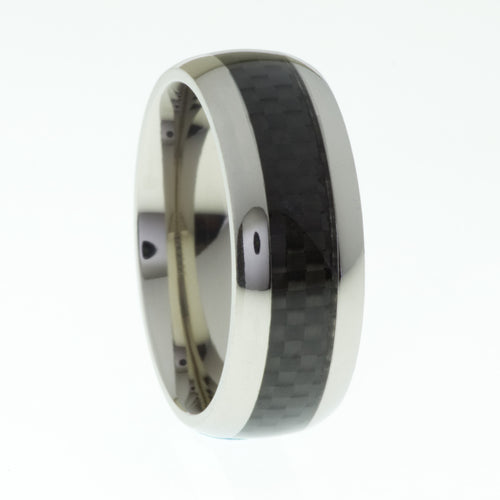 Mens Titanium Ring with Carbon Fibre Inlay - Mens Rings Australia