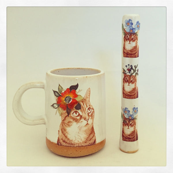Boho Tabby Cat Wake & Bake Set