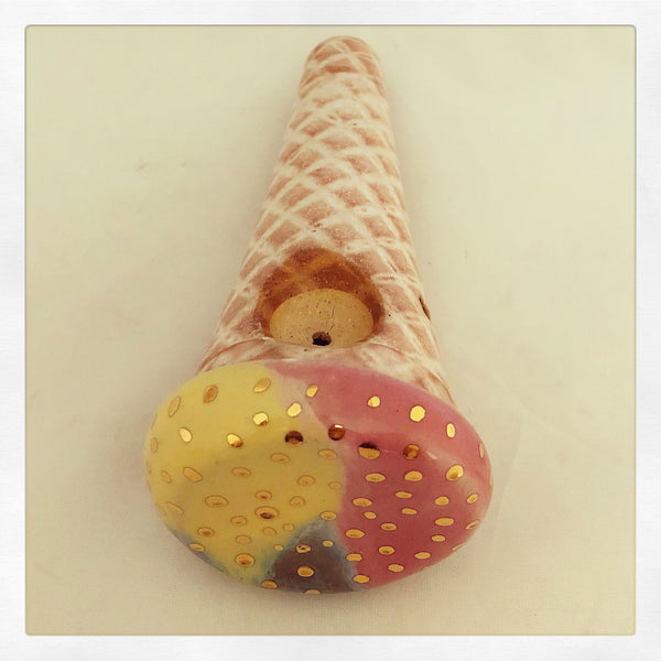 Ice Cream Cone Handheld Pipe with 24k Gold Sprinkles