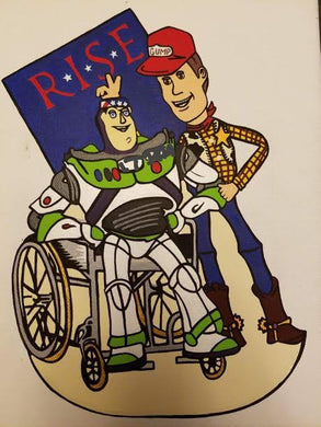 Sticker (Individual)--Gun Story--Buzz/Woody R*I*S*E Benefiting The Gary Sinise Foundation
