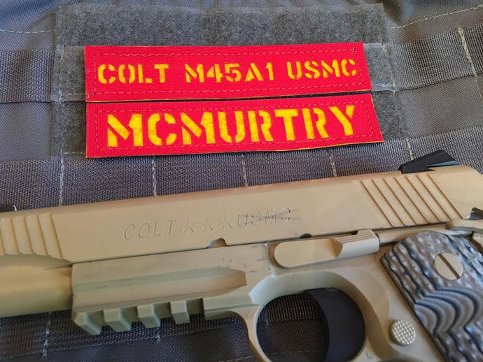 Name Plate--(Individual)--Colt M45 USMC (Red/Yellow)