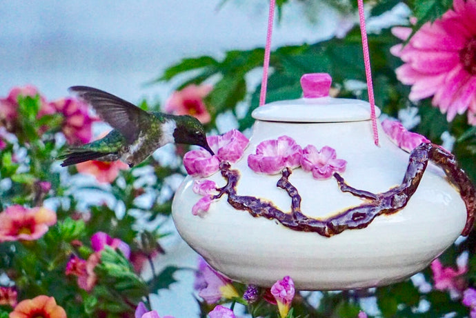 Cherry Blossoms  (Art Piece) Glass Hummingbird Feeder Handmade Pottery