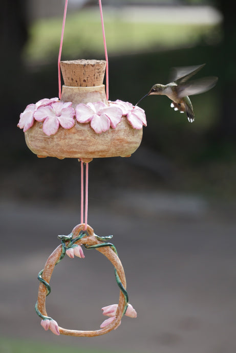 Naturally Charmed (Art Piece) Hummingbird bird feeder,  (ruby throated female photo)