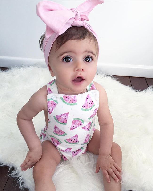 Beautiful Baby Girl Sleeveless Watermelon Romper Set
