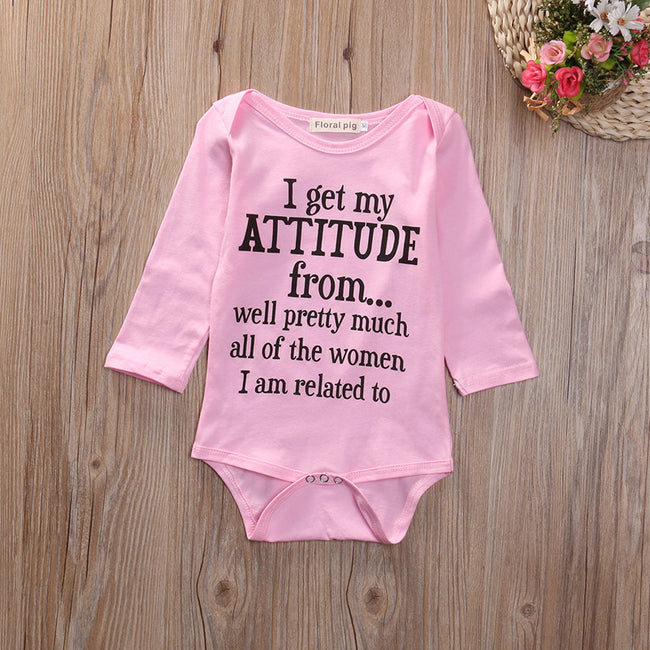 "Cute Baby Girl ""I Get My Attitude From..."" Long Sleeve Onesie"