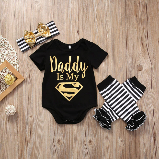 "Cute 3 Piece Set ""Daddy is My Superman"""