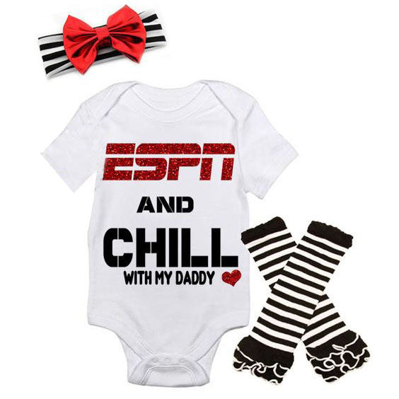"""ESPN and Chill"" Baby Girl 3 Piece Set"
