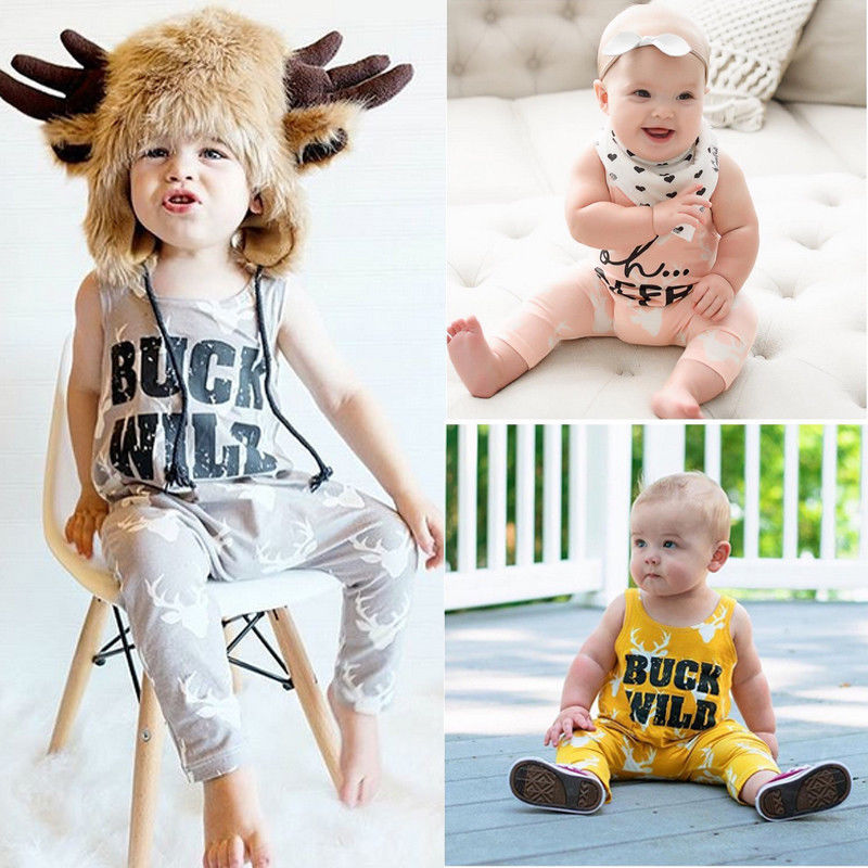 Sleeveless Rompers deer Printed Jumpsuit