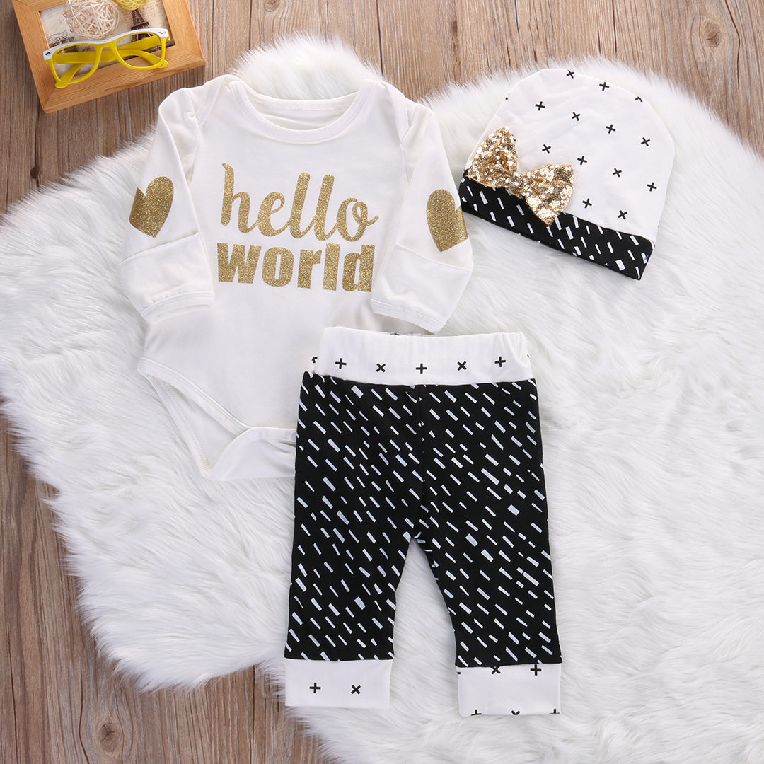 "Cute 3 Piece Set ""Hello World"""