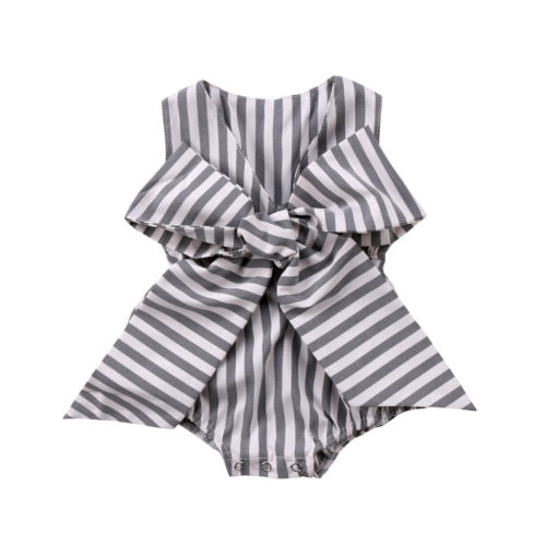 Adorable Newborn Baby Girls Bow Stripes Jumpsuit