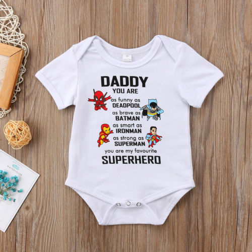 Cute Baby Onesie Daddy Superhero