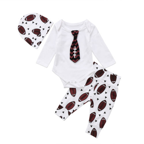 Baby Tie Romper football Pants Clothes Outfits
