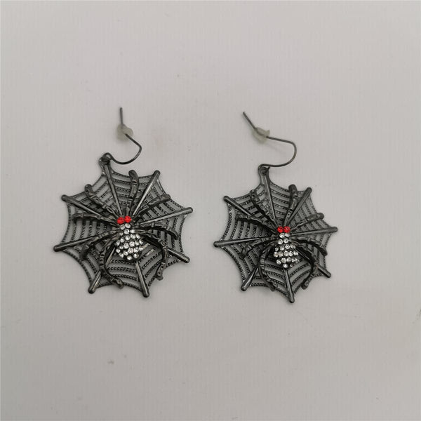 Red Cubic Zirconia & Black Spider Drop Earrings