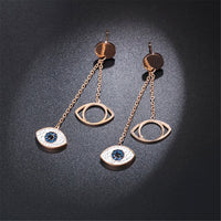 cubic zirconia & 18k Rose Gold-Plated Evil Eye Drop Earring - streetregion