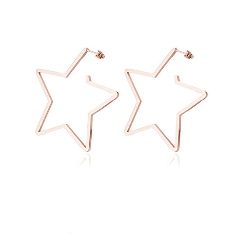 18k Rose Gold-Plated Star Hoop Earrings - streetregion