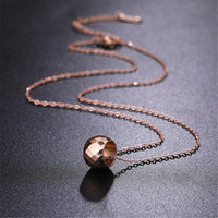 18k Rose Gold-Plated Cut Ball Pendant Necklace - streetregion
