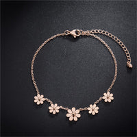 18k Rose Gold-Plated Sunflower Charm Bracelet - streetregion