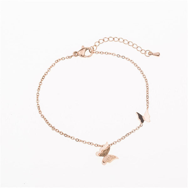 18k Rose Gold-Plated Double Butterfly Bracelet
