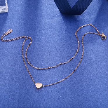 18k Rose Gold-Plated Heart Charm Layer Anklet